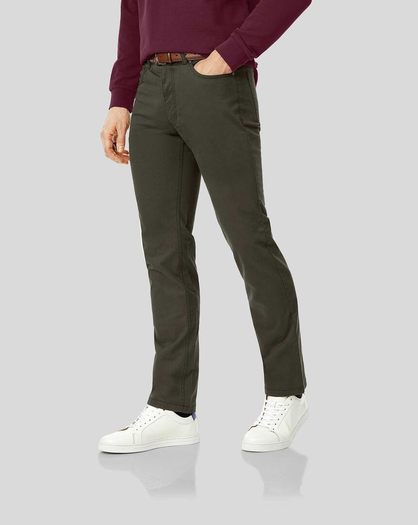Cotton Stretch Five Pocket Trouser - Olive