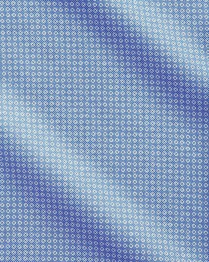Slim fit semi-cutaway business casual geometric print mid blue shirt