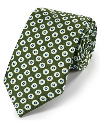 Olive silk printed geometric classic tie