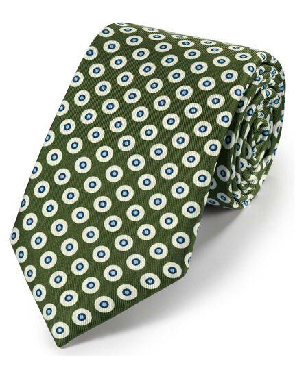 Klassische Krawatte aus Seide mit geometrischem Print in Olivgrün