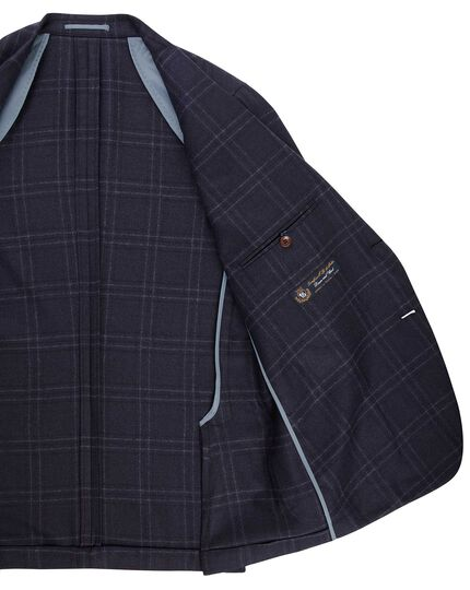 Slim fit navy with blue overcheck Italian wool cashmere jacket