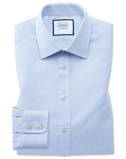 Slim Fit Hemd aus ägyptischer Baumwolle mit Panamabindung in Himmelblau