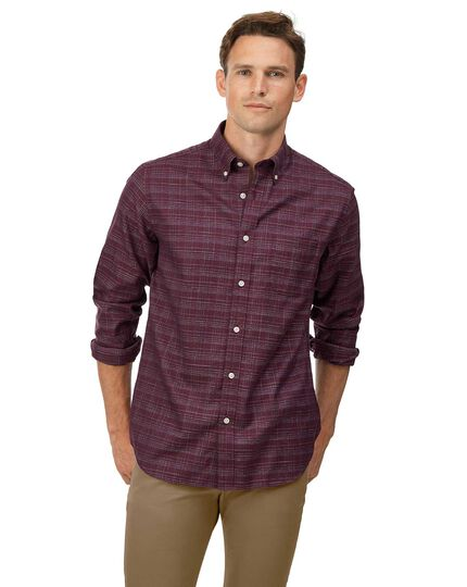 Classic fit soft washed non-iron twill berry grid check shirt