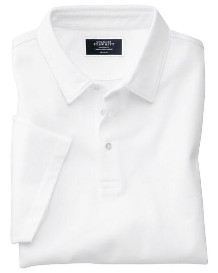 White Oxford pique polo