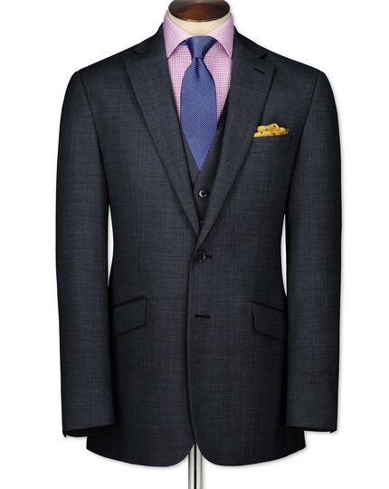 Airforce blue slim fit end-on-end business suit jacket