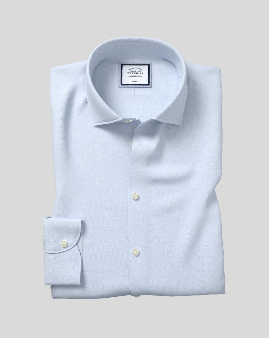 Bügelfreies Oxfordhemd mit Business-Casual-Kragen aus Baumwolle & Leinen - Himmelblau