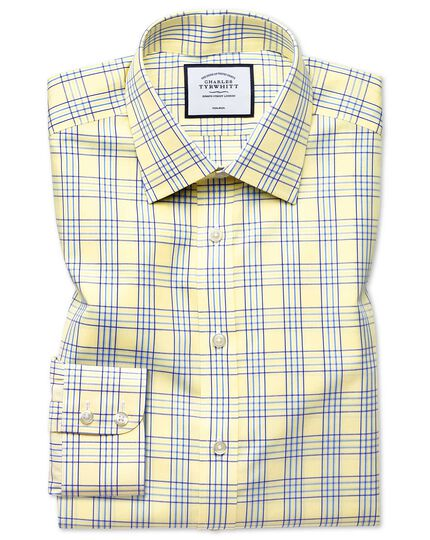 Non-Iron Prince Of Wales Shirt - Yellow