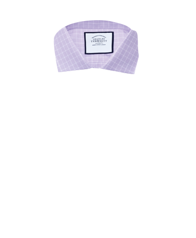 Slim fit textured check lilac shirt