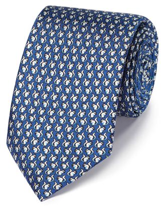 Royal blue squirrel print silk classic tie