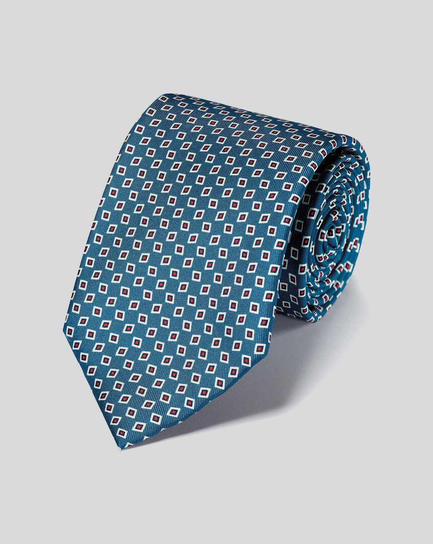 Krawatte aus Seide mit geometrischem-Print - Blau & Rot