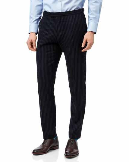 Navy stripe slim fit British luxury suit trousers
