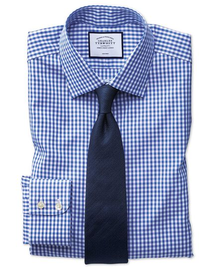 Classic fit non-iron twill royal blue check shirt