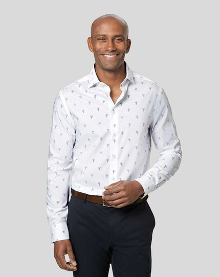 Hemd mit Business-Casual-Kragen und Palmenmotiv - Blau