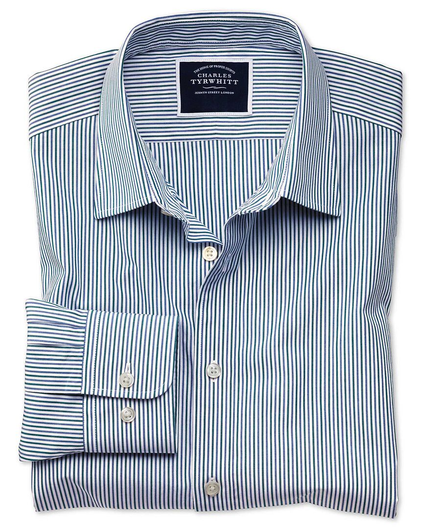 Slim fit blue and green stripe soft washed shirt