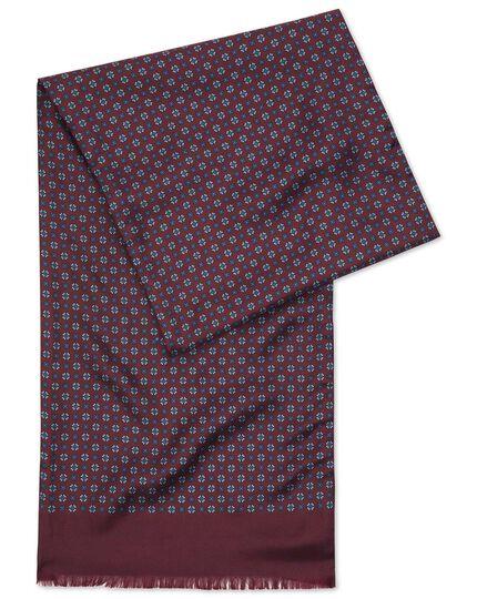 Écharpe bordeaux en soie à imprimé