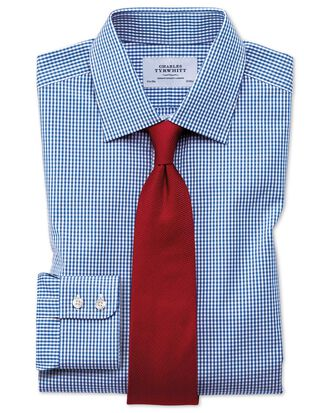 Extra slim fit small gingham navy blue shirt