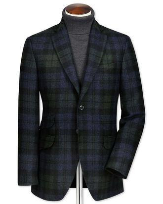 Green and navy slim fit British tartan luxury jacket