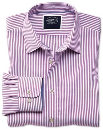 Slim fit non-iron purple Bengal stripe Oxford shirt