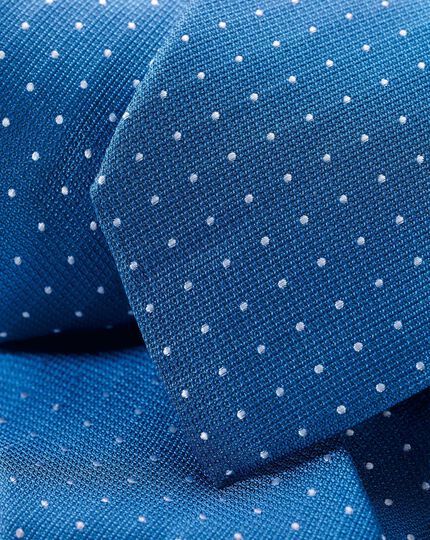 Stain Resistant Silk Textured Spot Tie - Royal Blue & White