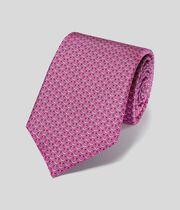 Horseshoe Silk Print Classic Tie - Bright Pink