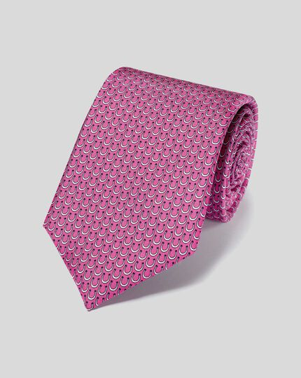 Horseshoe Silk Print Tie - Bright Pink