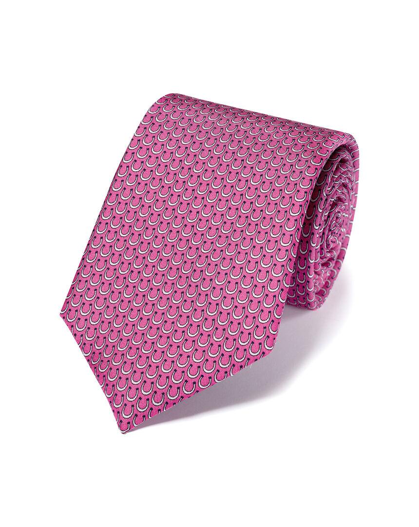 Krawatte aus Seide mit Hufeisen-Print - Pink