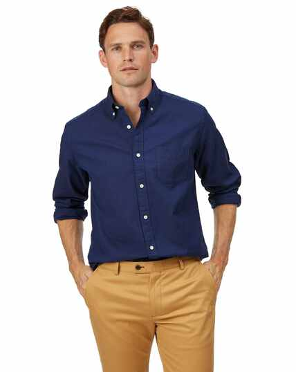 Classic fit royal blue button-down washed Oxford plain shirt