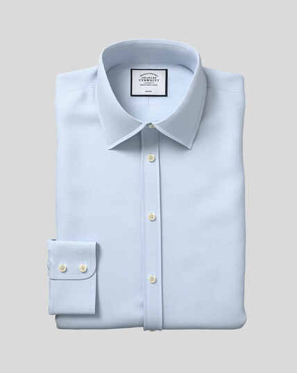 Classic Collar Non-Iron Mini Herringbone Shirt - Sky