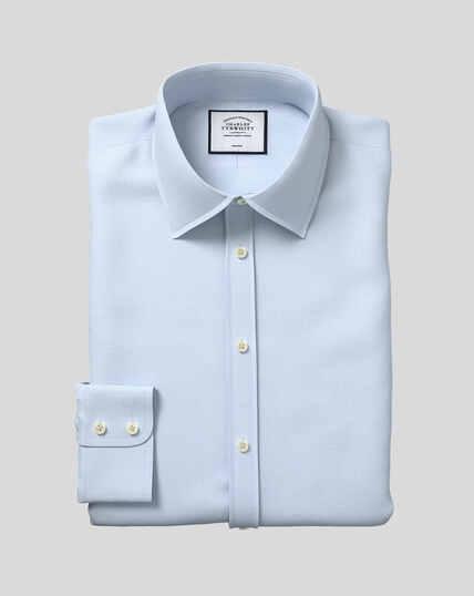 Bügelfreies Hemd mit Kent-Kragen und Mini-Fischgrätmuster - Himmelblau