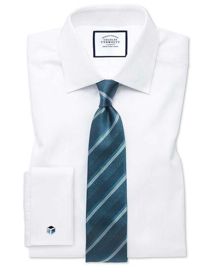 Teal tonal stripe silk classic tie