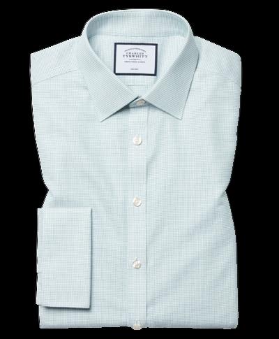 Chemise à motif à effet tirets verte super slim fit sans repassage