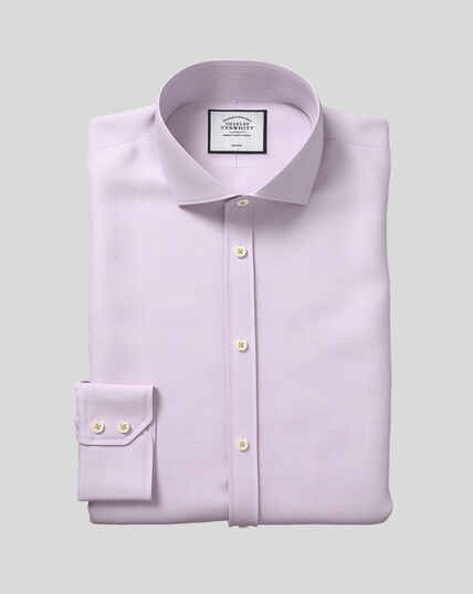 Cutaway Collar Non-Iron 4-Way Stretch Prince of Wales Check Shirt - Lilac