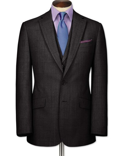 Grey check slim fit flannel business suit jacket