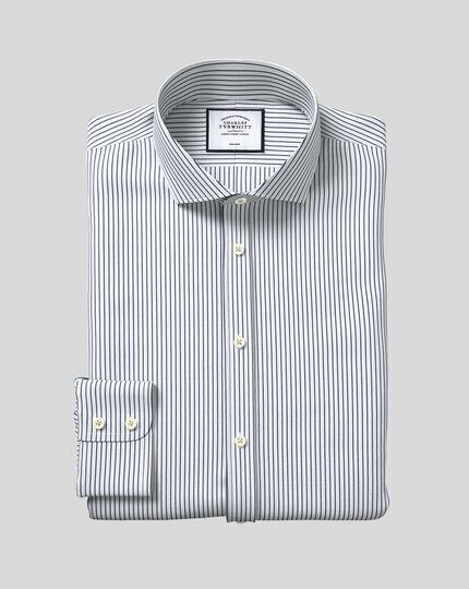 Cutaway Collar Non-Iron Dobby Stripe Shirt - Navy