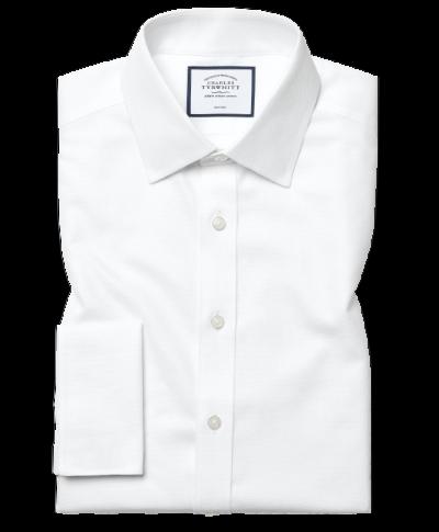 Extra slim fit non-iron dash weave white shirt