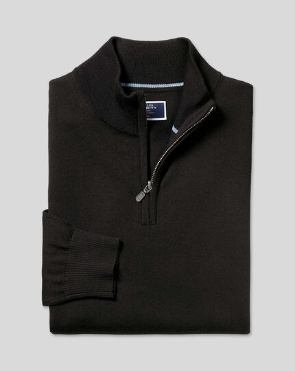 Merino Zip Neck Sweater - Black