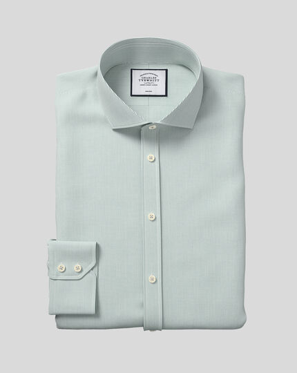 Cutaway Collar Non-Iron 4-Way Stretch Hairline Stripe Shirt - Green