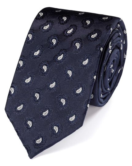 Slim navy silk paisley luxury tie