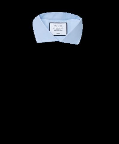 Bügelfreies Extra Slim Fit Twill-Hemd mit Haifischkragen in Himmelblau