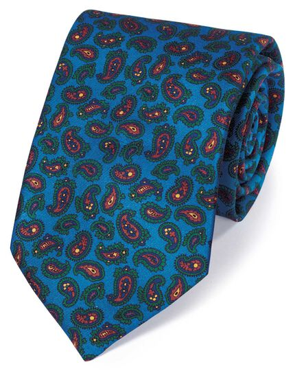 Bright blue silk printed paisley English luxury tie