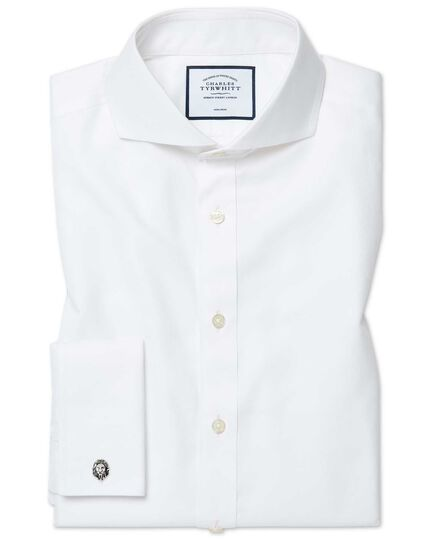 Slim fit white non-iron twill extreme cutaway shirt
