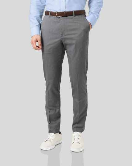 Non-Iron Herringbone Stretch Trousers - Grey