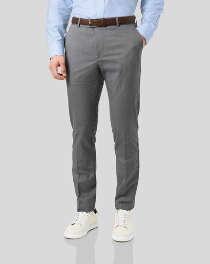 Non-Iron Herringbone Stretch Pants - Grey