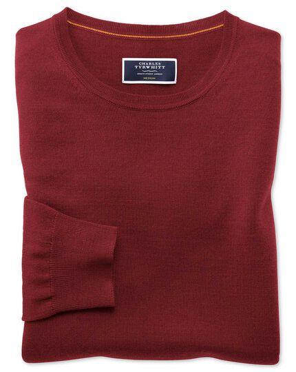 Dark red merino crew neck sweater