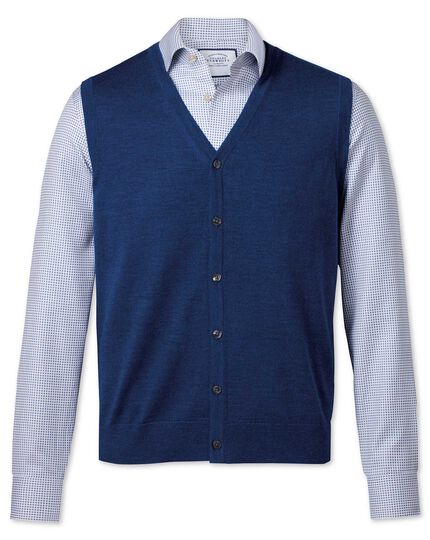 Royal blue merino vest