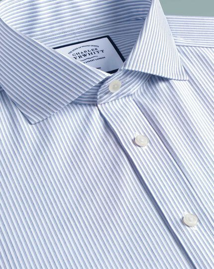 Extra slim fit cutaway collar non-iron soft twill sky blue stripe shirt