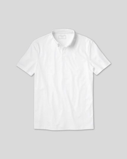 Smart Short Sleeve Jersey Polo - White