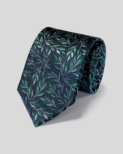 Silk Floral Tie - Navy & Green