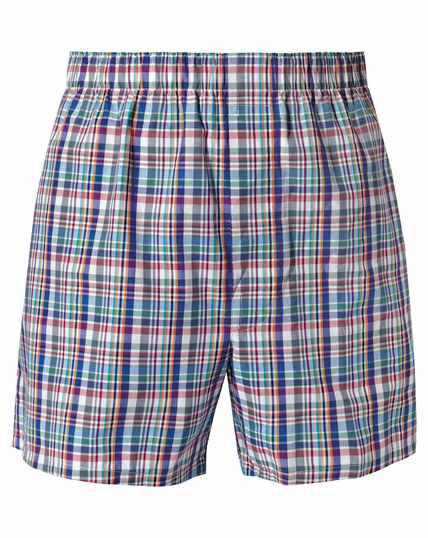 Multi check woven boxers