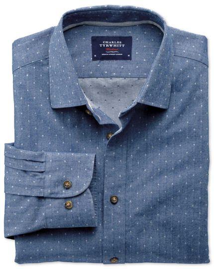 Slim Fit Hemd aus Dobby in Mittelblau mit Tupfen